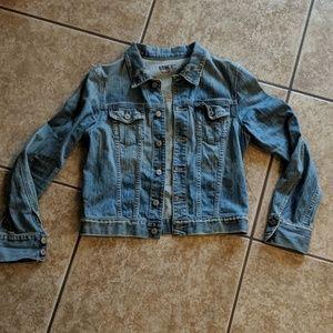 3/$30 BKE denim jacket factory distressed szL nwot